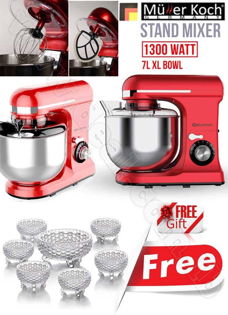 Free Gift Glass Bowls With Muller Koch Stand Mixer  7 LITER 1300 WATT