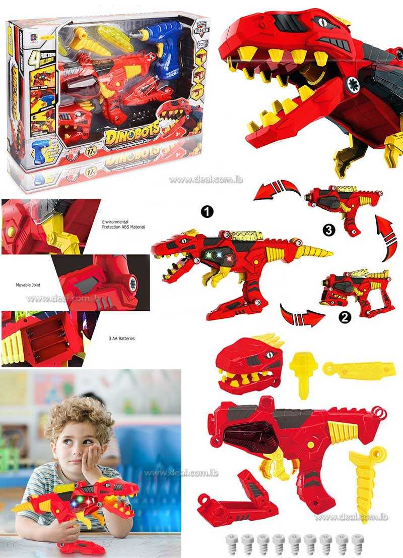 Freebex Kids 17 pc Lights & Sound Dinobots Super Dino Charge