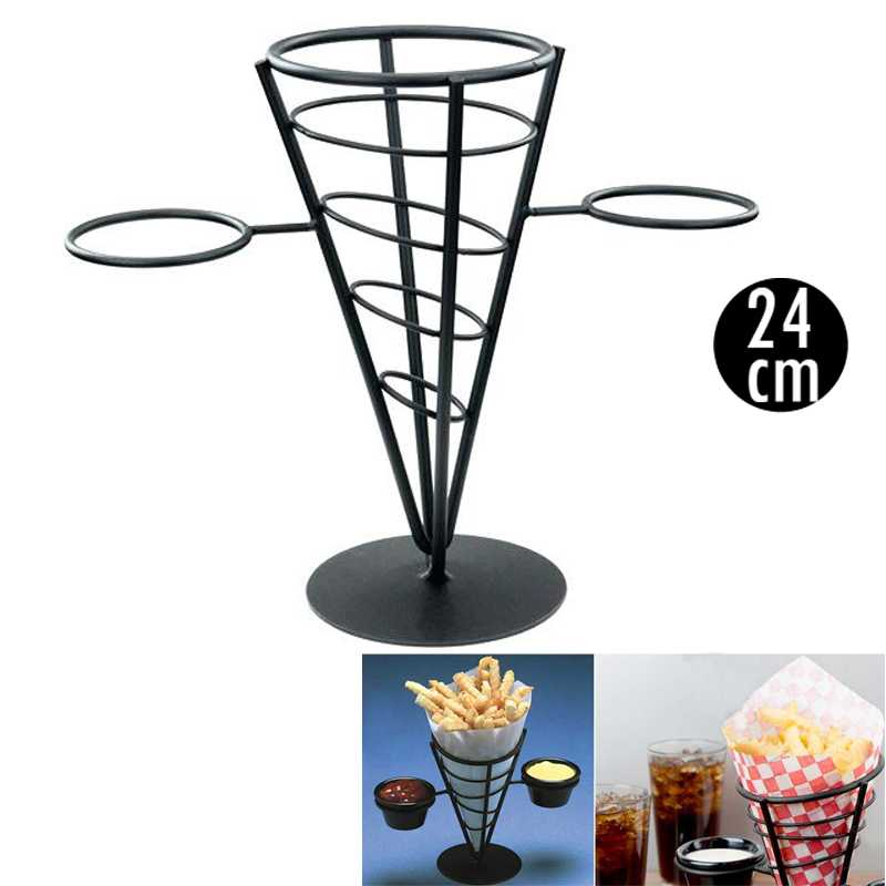 French Fry Stand Black Cone Basket Holder with Two Sauce Holders