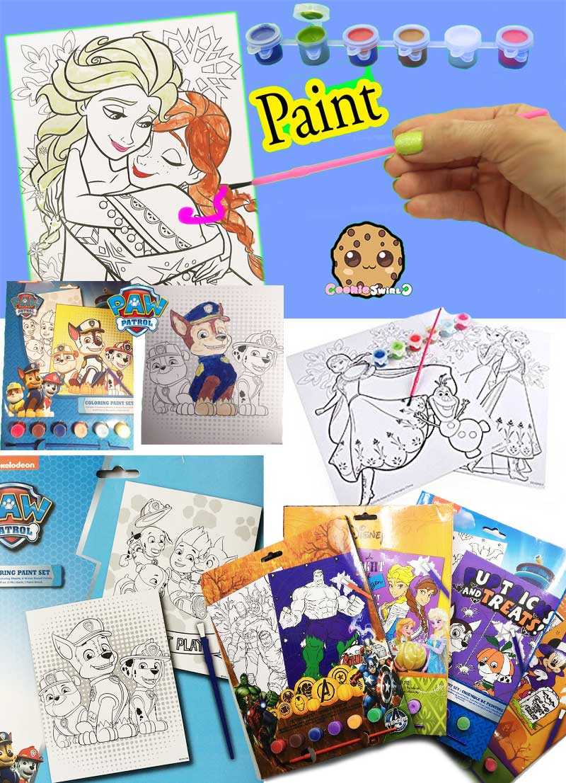 Frozen,Minnie mouse,The avengers,and paw patrol Coloring Paint Set