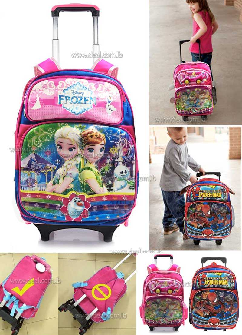 Frozen,Princess,and spiderman Disney n Trolley Bag