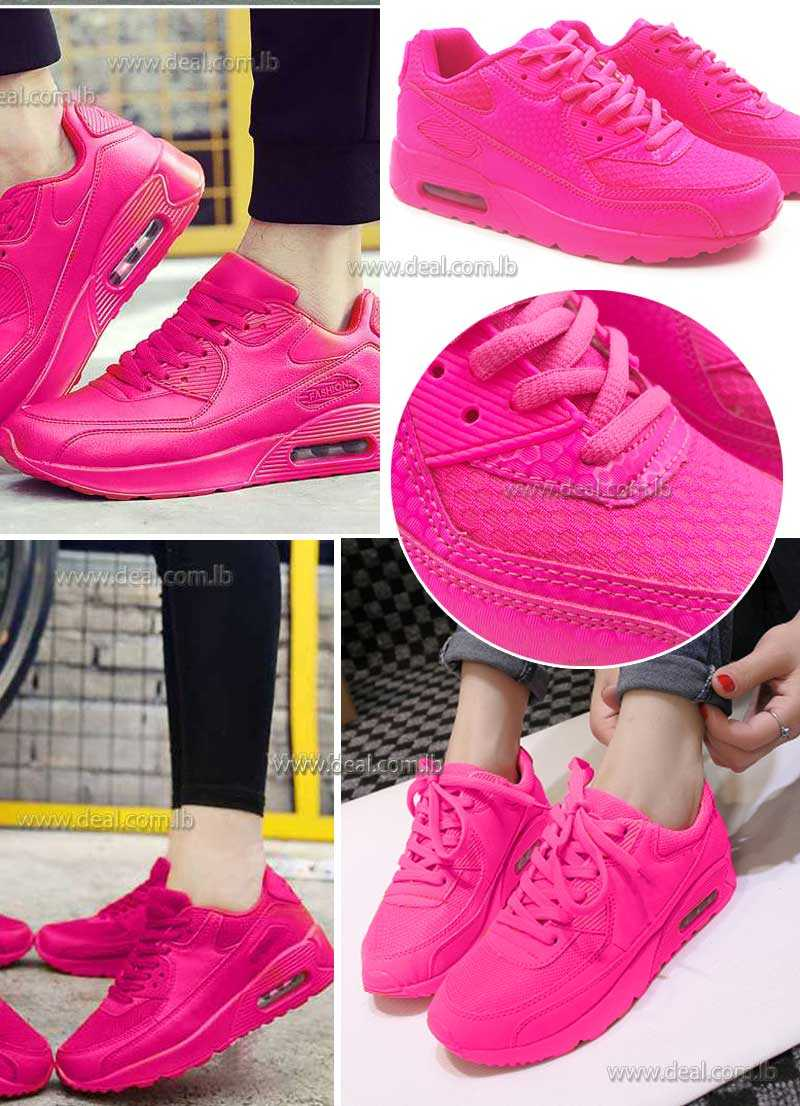 Fuchsia  Womens Increased Within Sneaker Trainers Platform Air Cushion Jogging Sports Shoes
