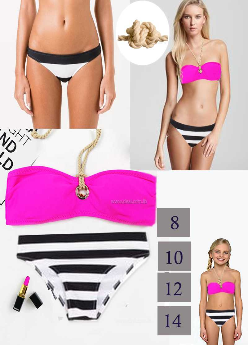 Fuchsia stripped 2 pieces swimsuit