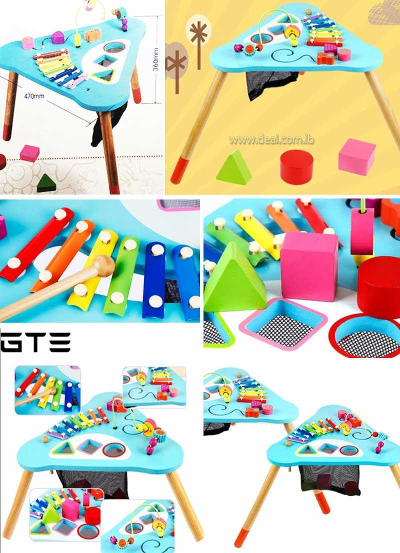 Superbe GTE+Children+Kids+Baby+Colorful+Wooden+Activity+Table+