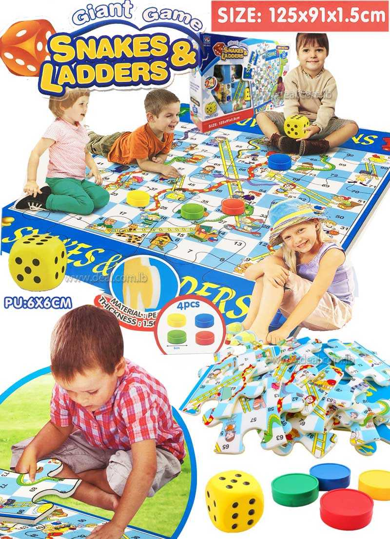Giant Snakes and Ladders 2 in 1 Puzzle Play Mat of 20 Pieces  Traditional Game to Play and Learn Include Dice and Chips