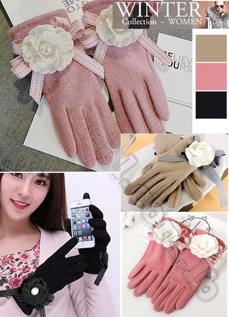 Gloves Women Cashmere Fashion Women Gloves Full Finger Touch Screen Warm Mittens Wool elegant Gloves