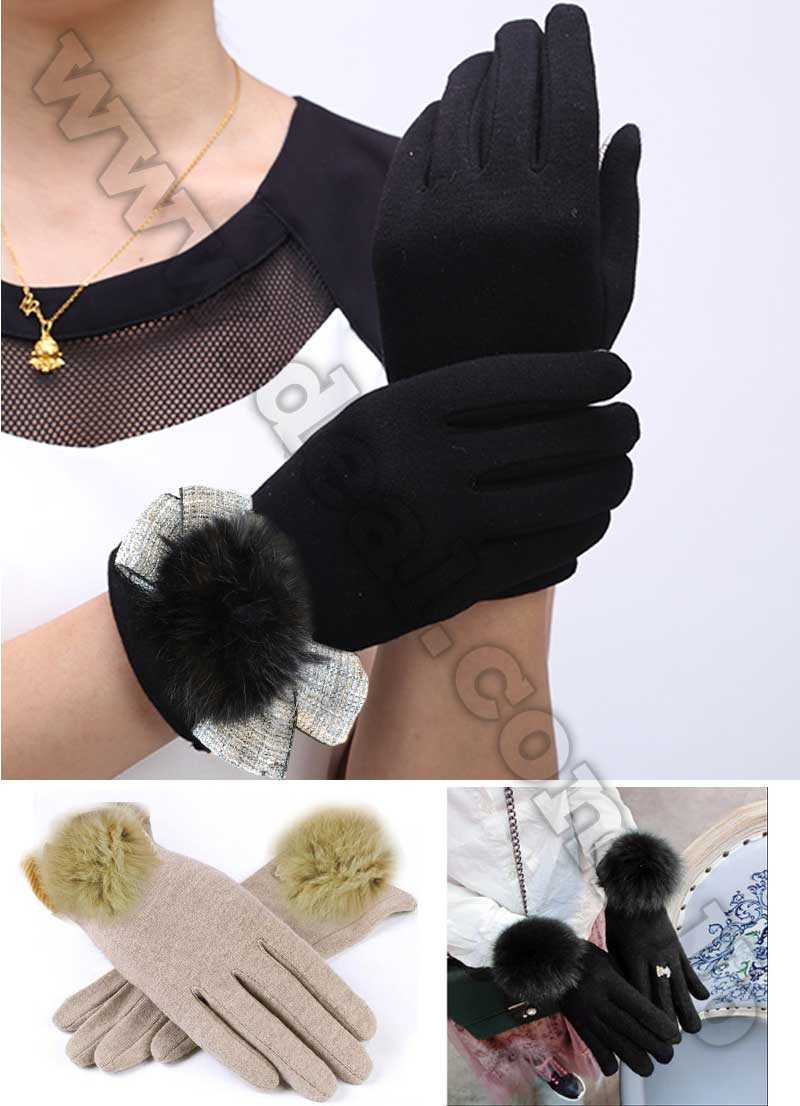 Gloves+Women+Winter+Rabbit+Hair+Ball+Full+Finger+Lace
