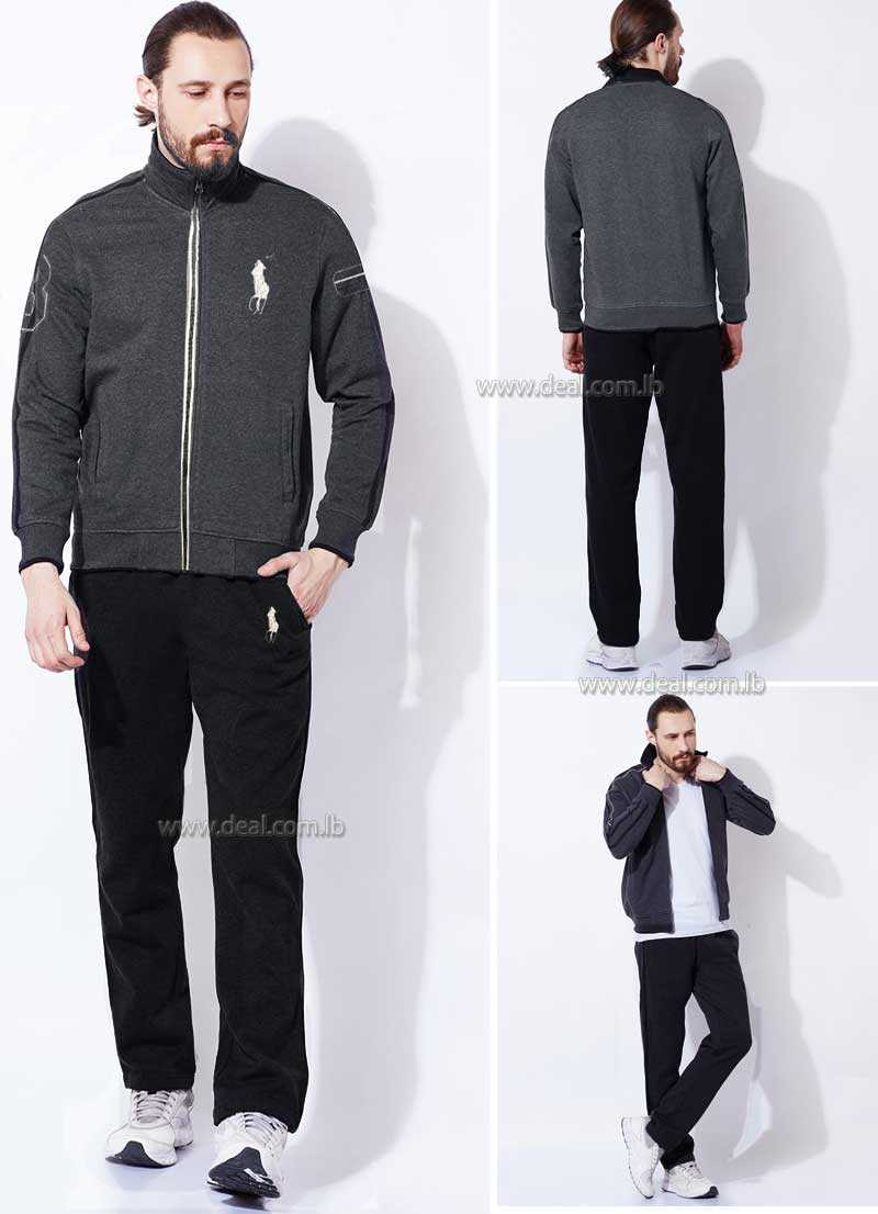 Grey polo Solid Casual Track Suit