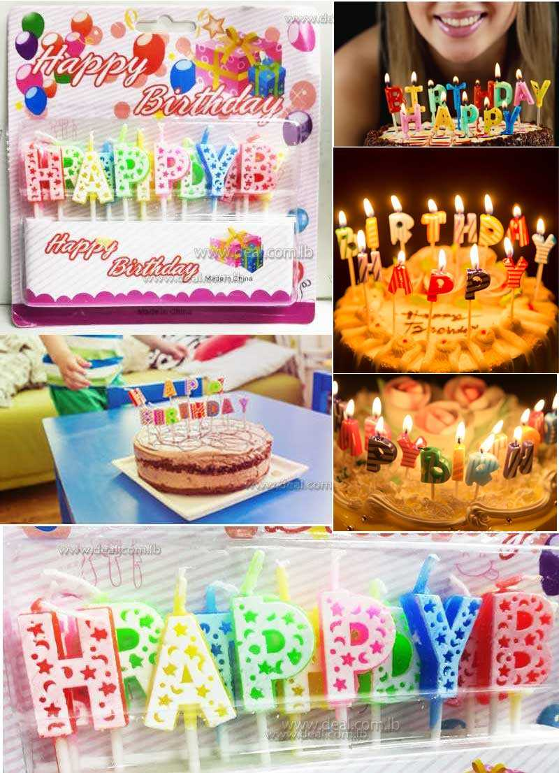 Happy Birthday Cake Candle Set Coloured Letters Decoration Party Topper