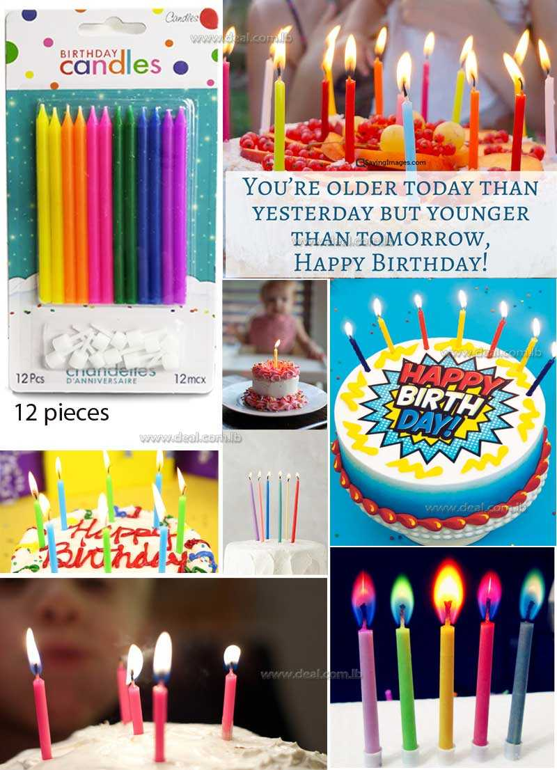 Happy Birthday Candles Hot Colors 12 Pieces