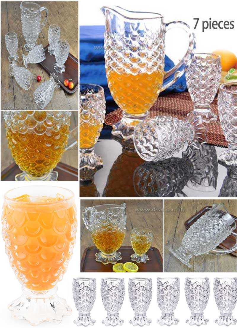 High quality glass drinking water set pressed tumbler fish scale jug set