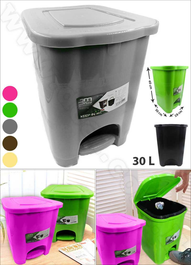 Household Trash Kitchen Toilet Waste Bins Plastic 30L