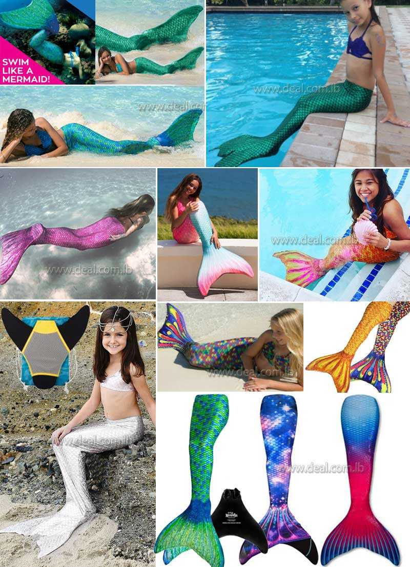 Swimmable Mermaid Tail Skin with MONOFIN
