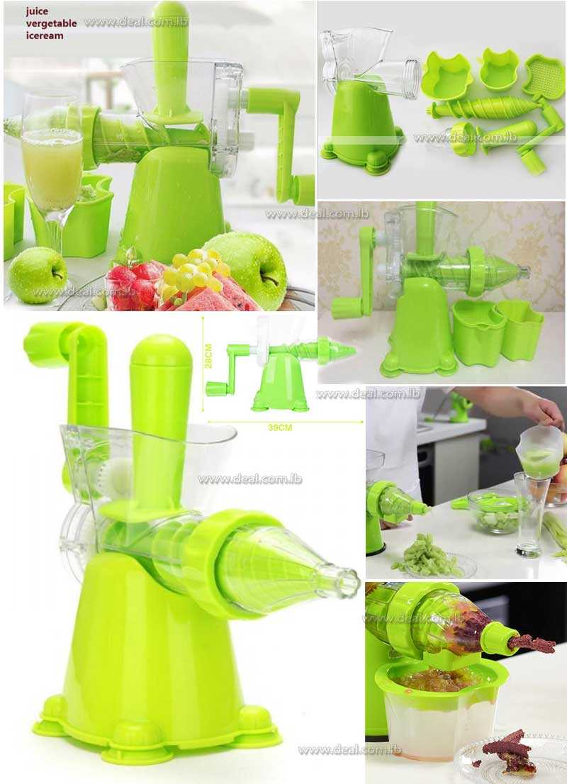 Ice Cream Makers Vegetable  Fruit Instruction Manual Juicer with Holder and Push Handle Washable Ecological Filter Healthy PC