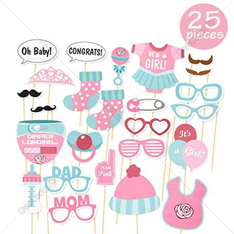 Its A Girl Baby Shower Party Photo Booth Props Kits on Sticks Set of 25pcs
