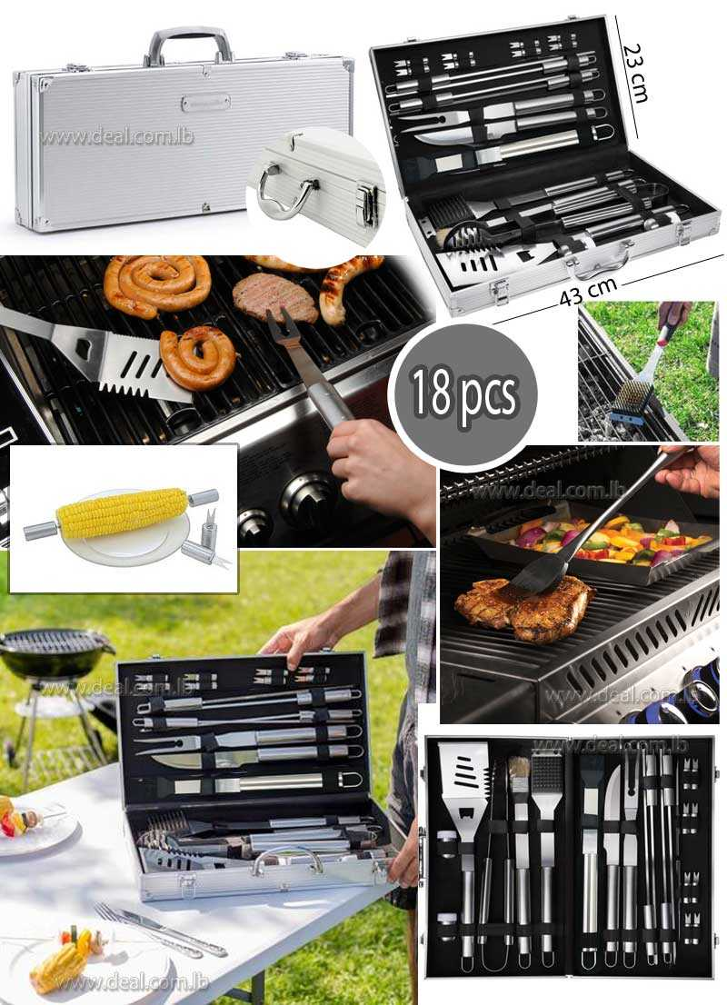 Kit 18 Accessories Parts Utensils and Cutlery Barbecue Grill Stainless Steel with Storage Case Aluminum