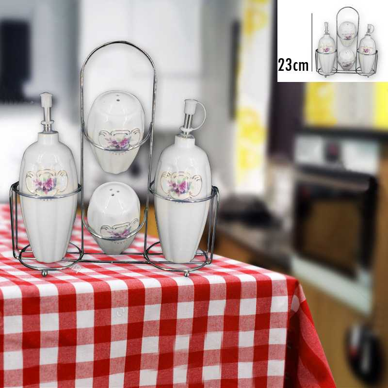 LOMENOX Stainless Steel Stand Of 4 Pieces Spice And Oil bottle Ceramic