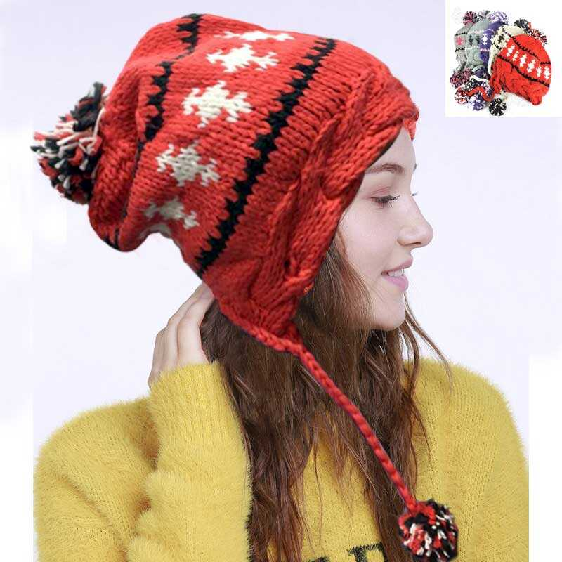 Ladies Girls Wool Cable Knit Hat Peruvian Hat Beanie