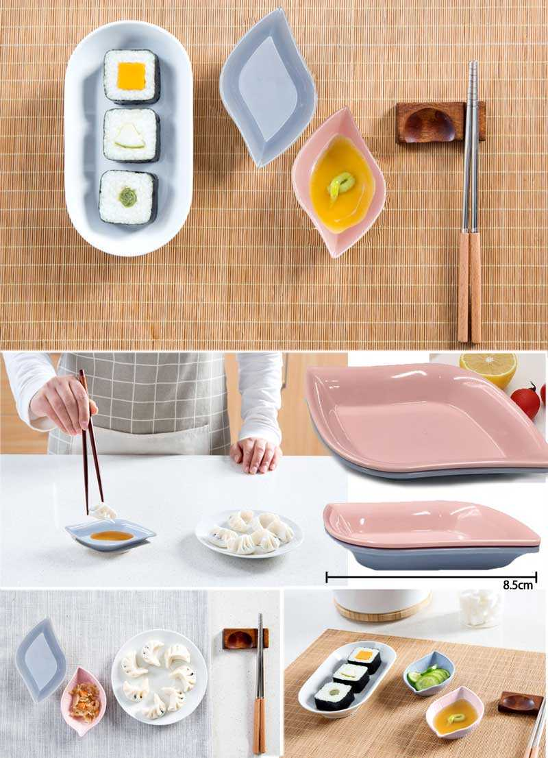 Leaf Shaped Wheat Straw Sauce Dish Storage Trays Creative Soy Sauce Vinegar Dishes Snack Plate