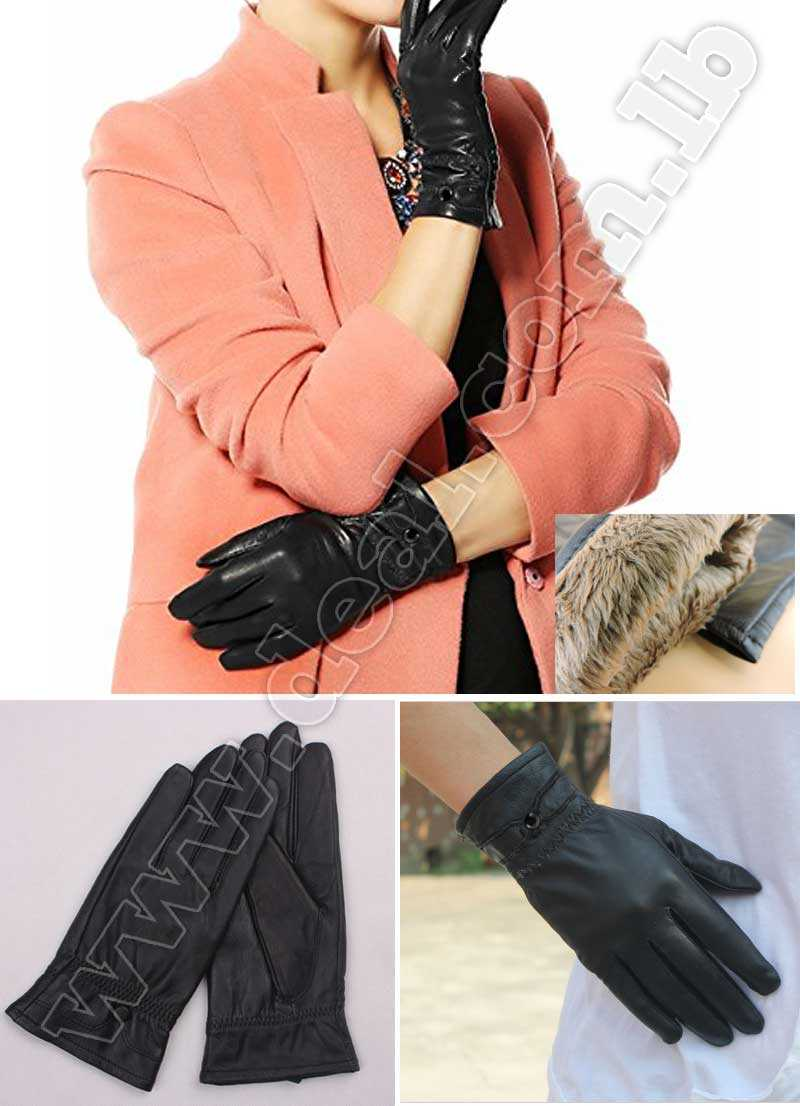 Leather women gloves leather buttons model