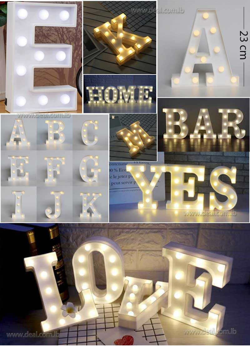 Letters Lights LED Light Up White Warm Marquee Standing