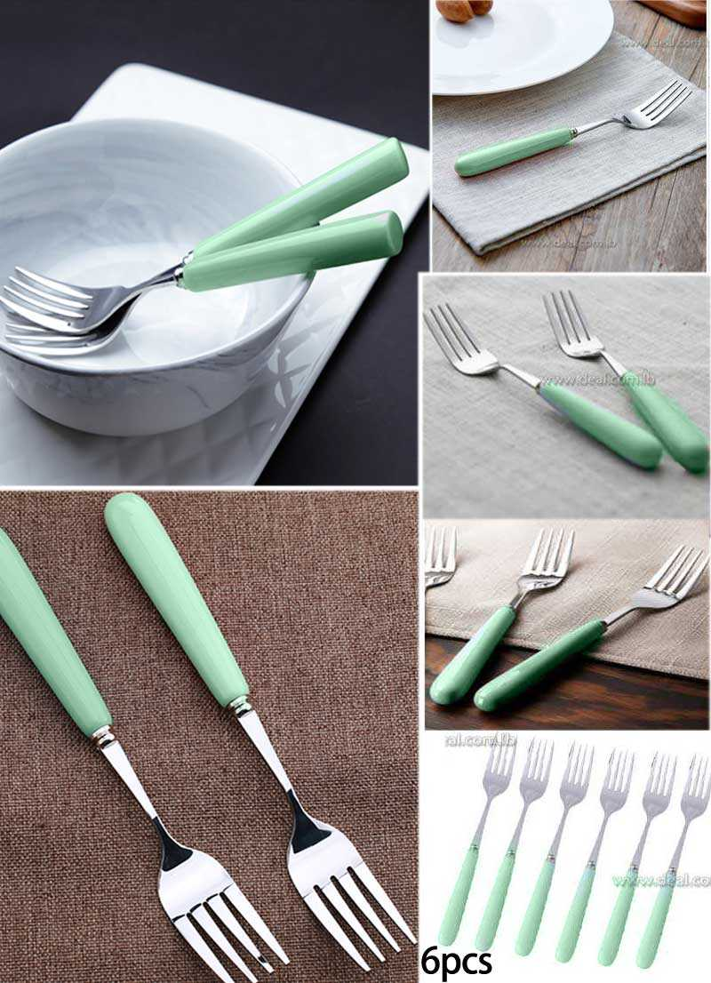 Light green Set Of 6 Pcs stainless steel Western style Dinnerware Set with ceramic handle steak fork & Light green Set Of 6 Pcs stainless steel Western style Dinnerware ...