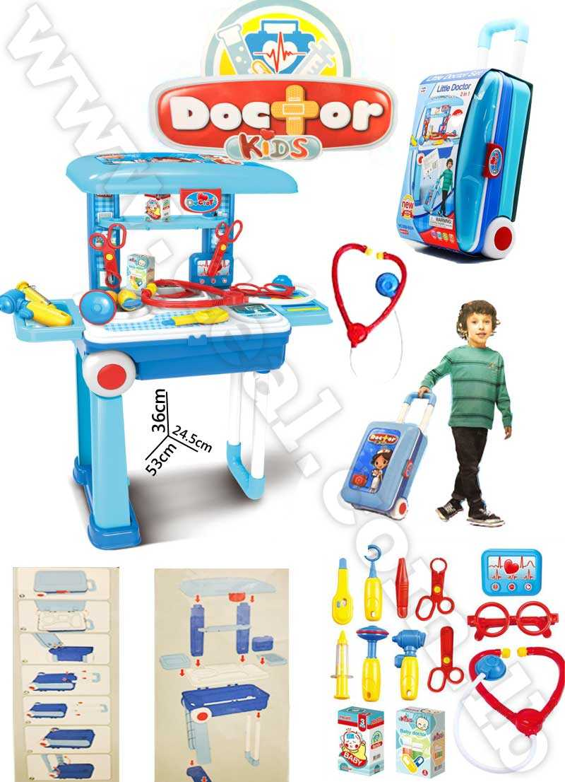 Little Doctor's Bring Along Medical Clinic Suitcase 2 in 1 , Doctor Set Play Toy, Role Toy for Kids With Briefcase (Blue) in a Trolley