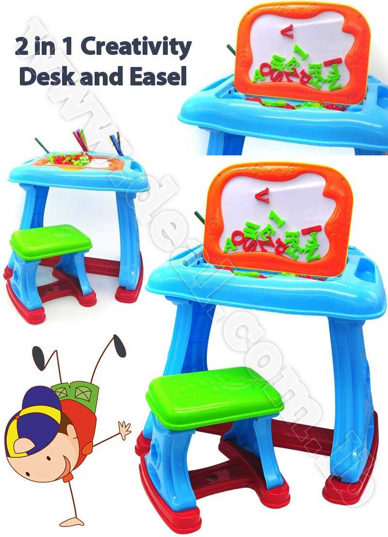 Little Treasures 2 in 1 Creativity Desk and Easel Set