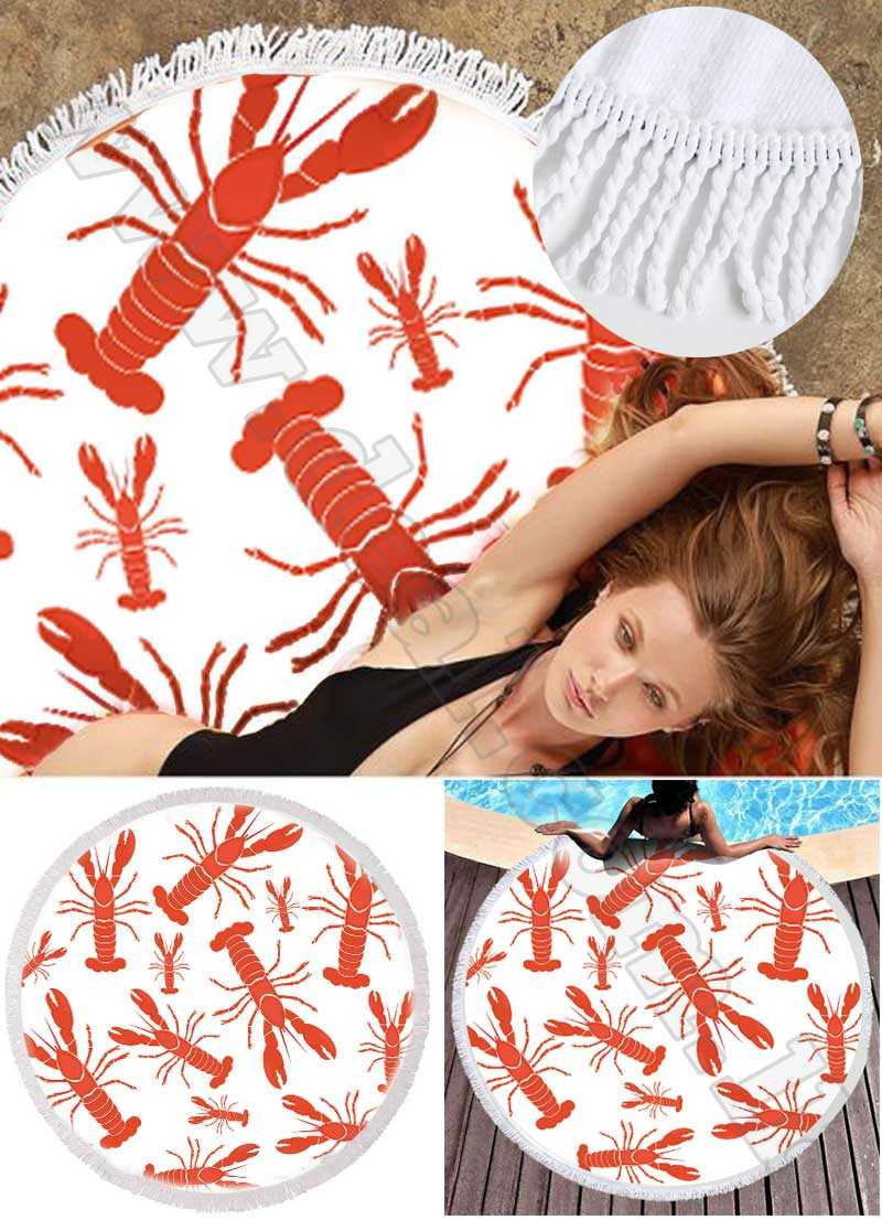 Lobster Patterns Terry Cloth Round Beach Towels