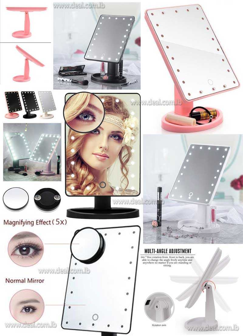 Makeup Mirror with 22 LED Light & Touch Screen Dimmable with Removable 5x Magnifying Mirrors