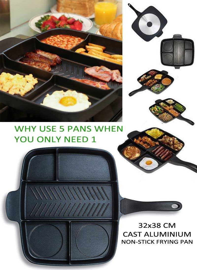 MAGIC PAN Non Stick Divided Grill/Fry/Oven Meal Skillet CAST