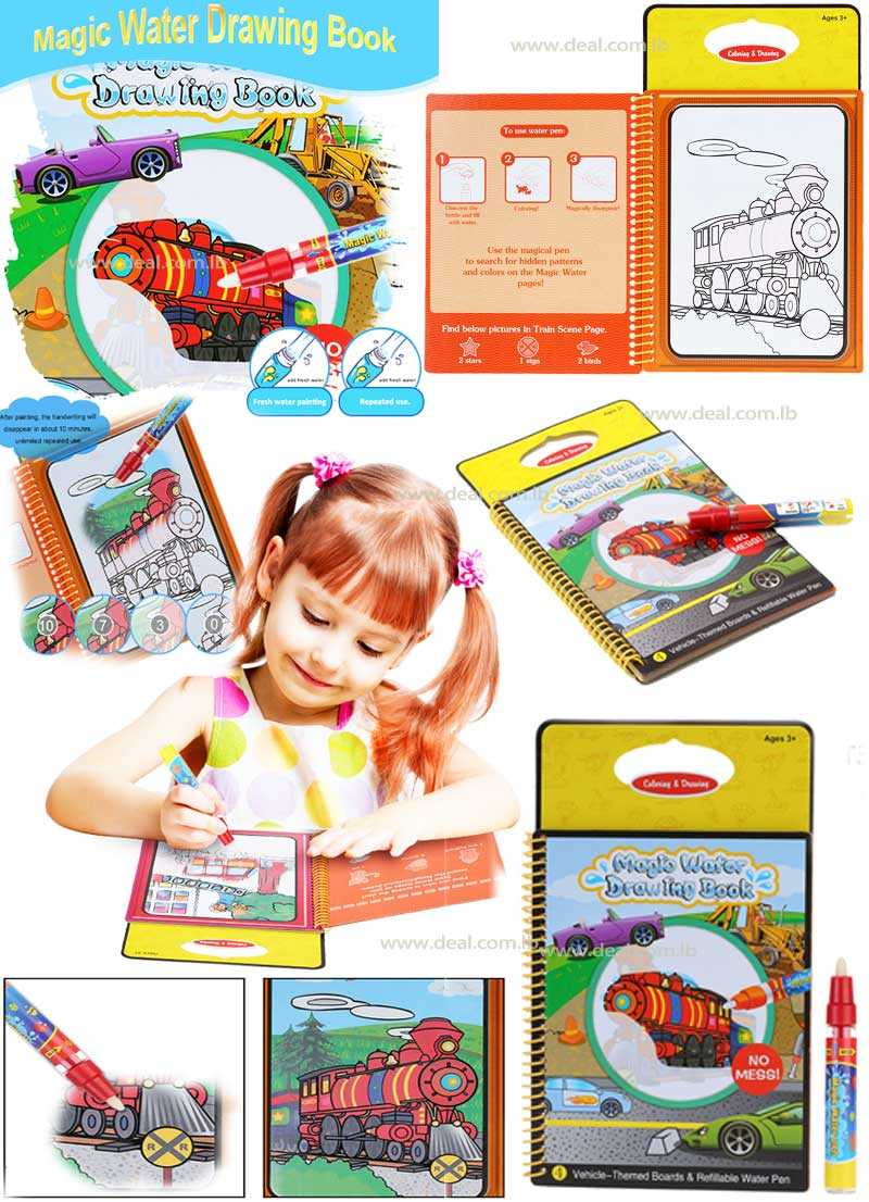 Magic Water Drawing Book Coloring Book Vehicles