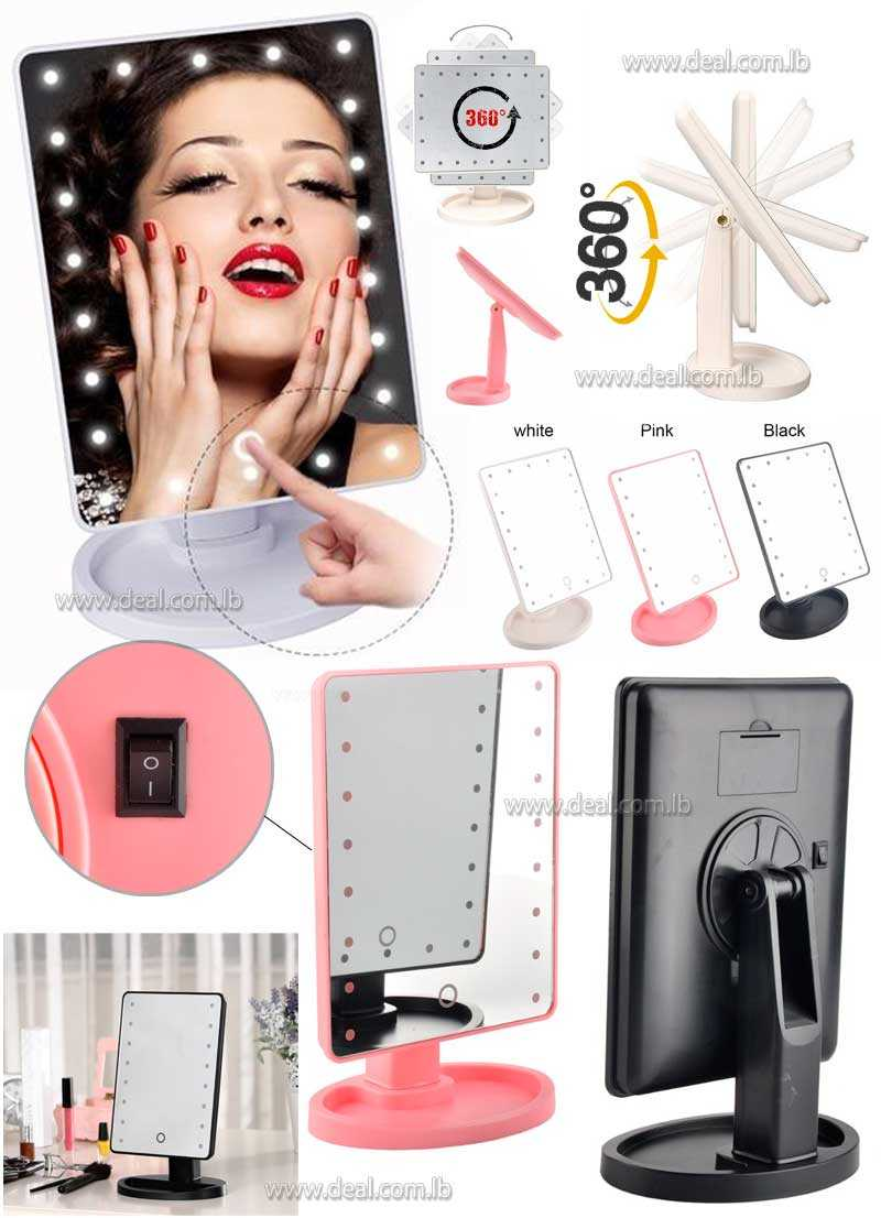 Make Up Mirror Cosmetic Portable Desktop Compact 22 led Luminous