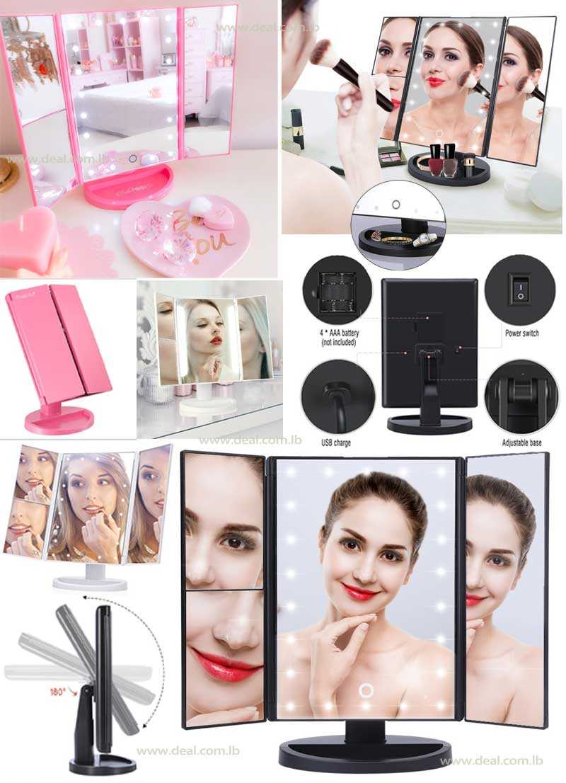 Makeup mirror with light 3-way LED illuminated make up mirror HURRISE beauty mirrors rectangle with three leaves 22 lights