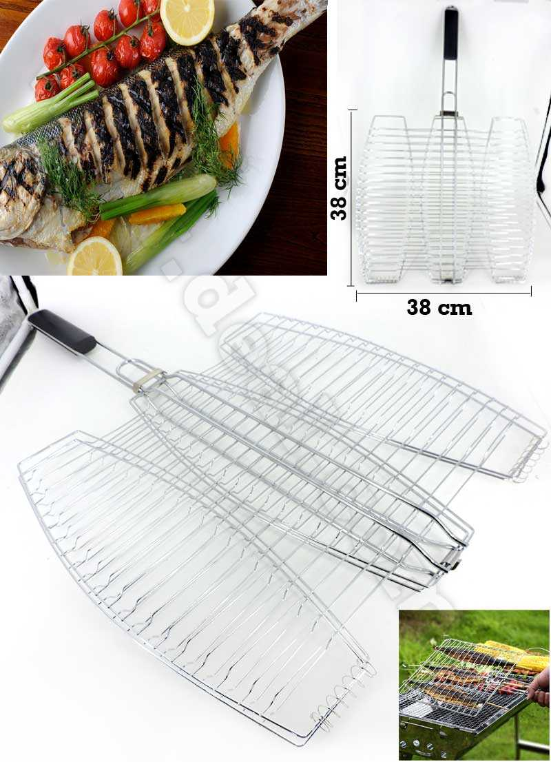 Man Law Triple Fish BBQ Basket Grill