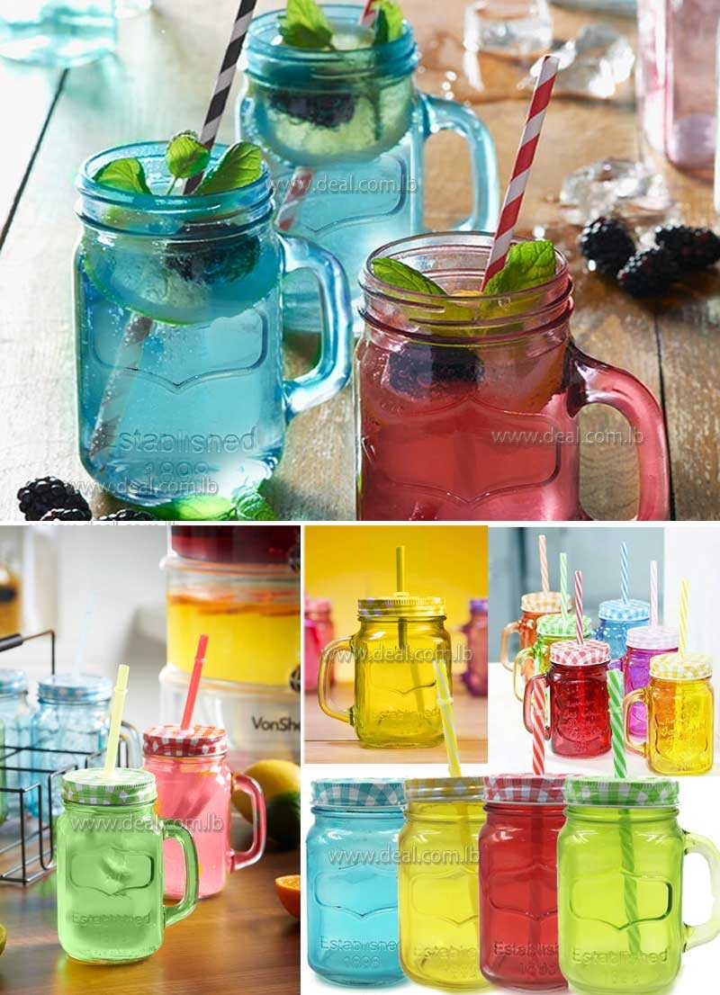 Mason glass drinking jars with lid and handled coloured glass multi-colour