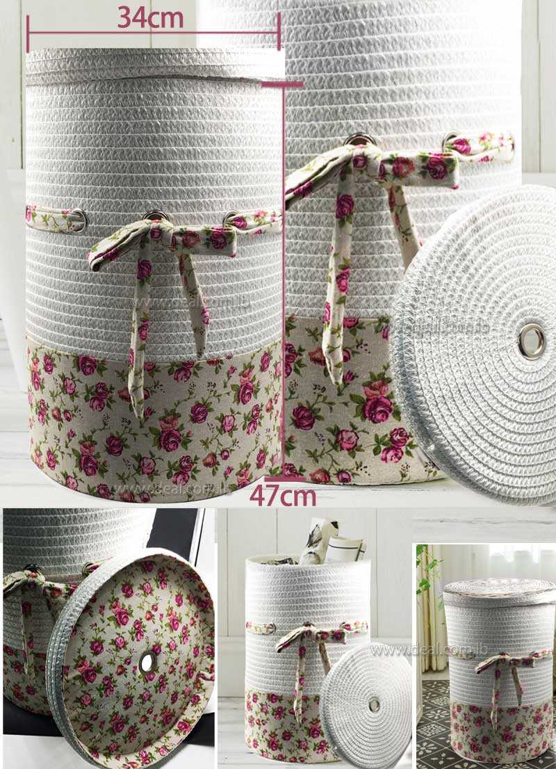 Medium size  47x34cm  white round Rattan storage hamper  laundry basket garden fabric cover