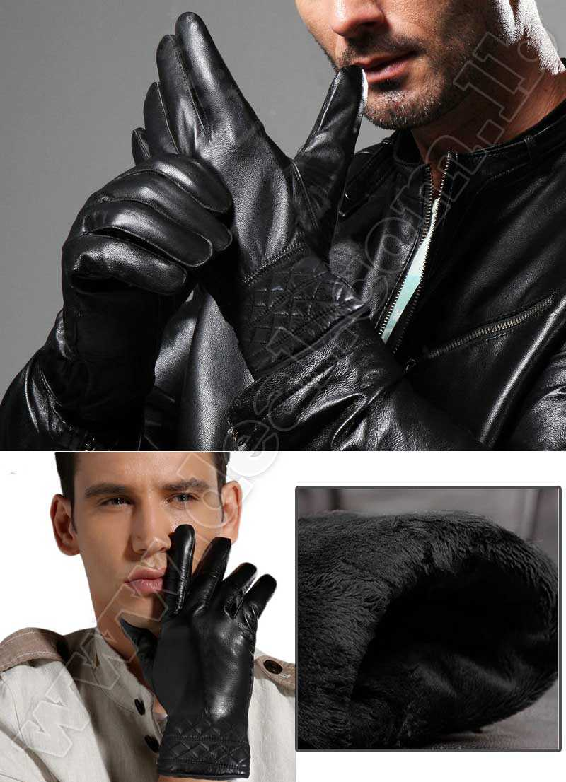 Men Leather Gloves  Fashion Black Warm Driving Glove