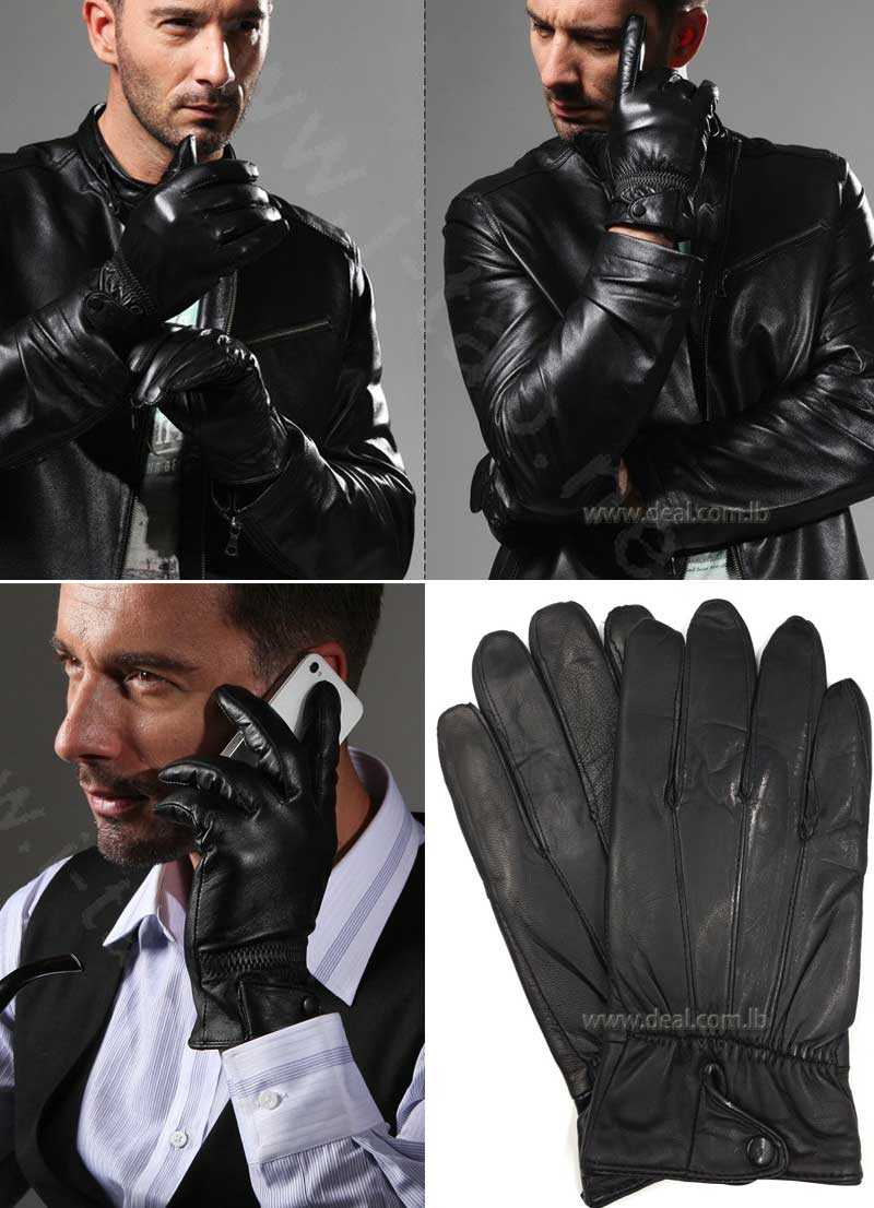 Men business  gloves winter coldproof warm goatskin leather gloves