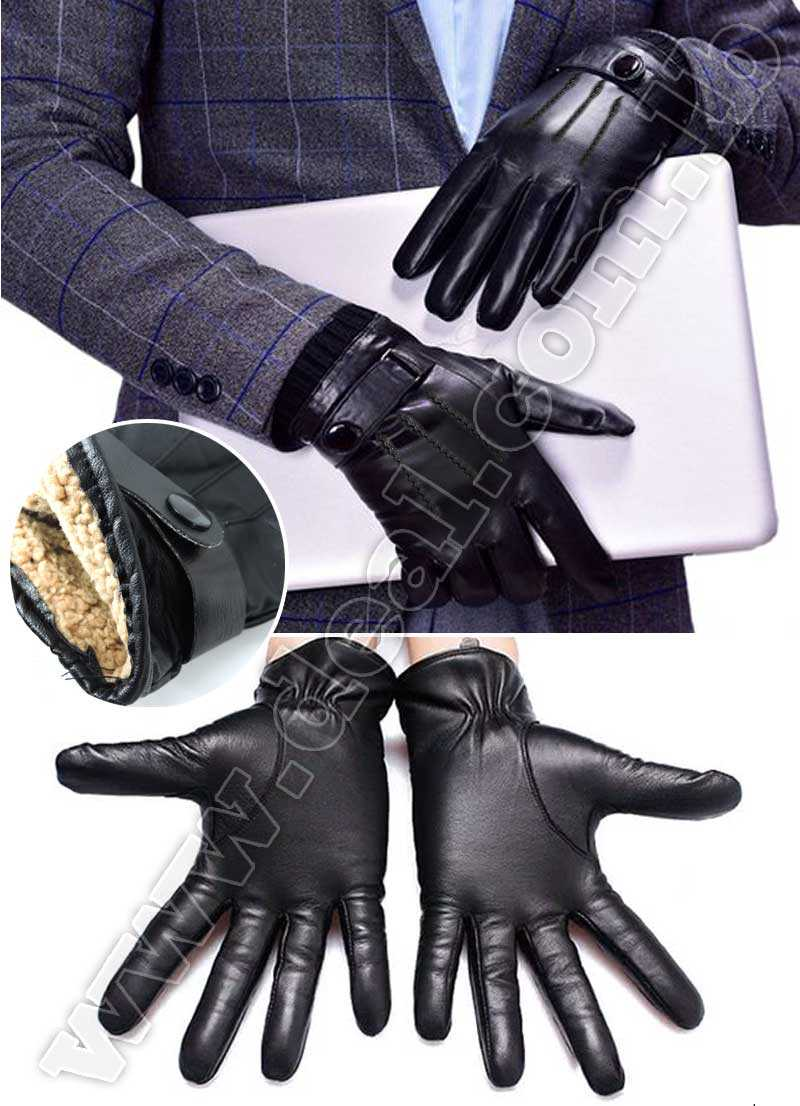 Mens Leather Winter Gloves with Wool Lining