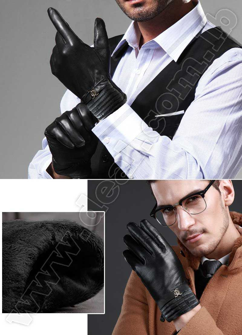 Mens Winter Genuine Leather Gloves