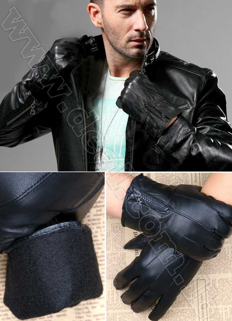 Mens leather gloves with zipper