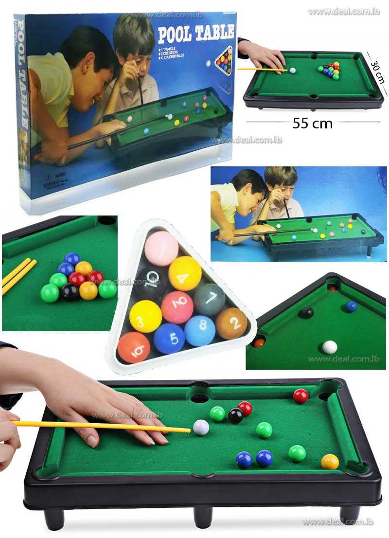 Mini Billiard Ball Snooker Pool Table Top Game Set - Mini billiards table set