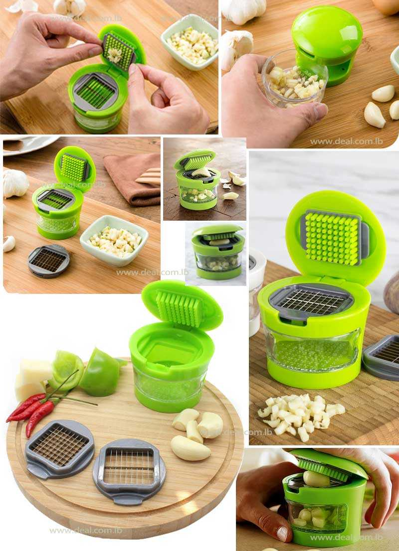Mini Garlic Press Durable Plastic with Stainless Steel Blades
