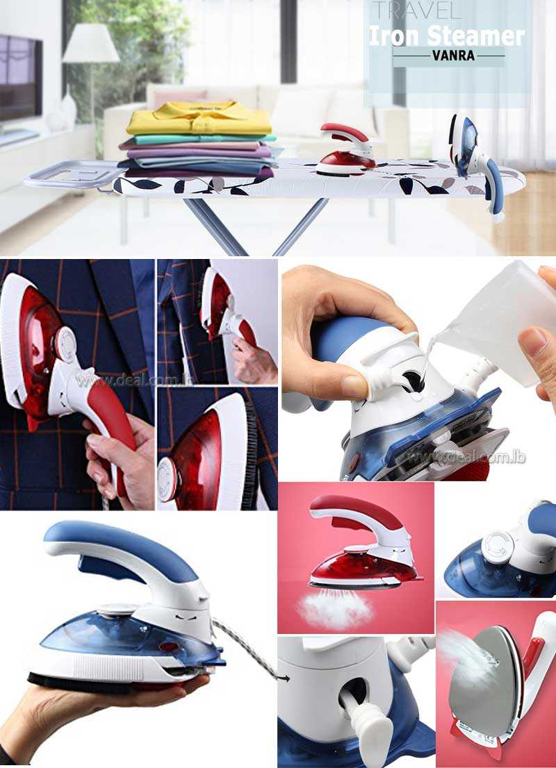 Mini Travel Iron Ultra-Portable Travel Steamer Iron Dry Iron 1000w with Rotatable Handle
