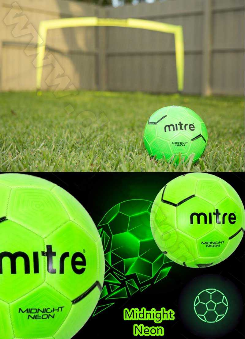 Mitre midnight neon green rubber performance soccer ball,