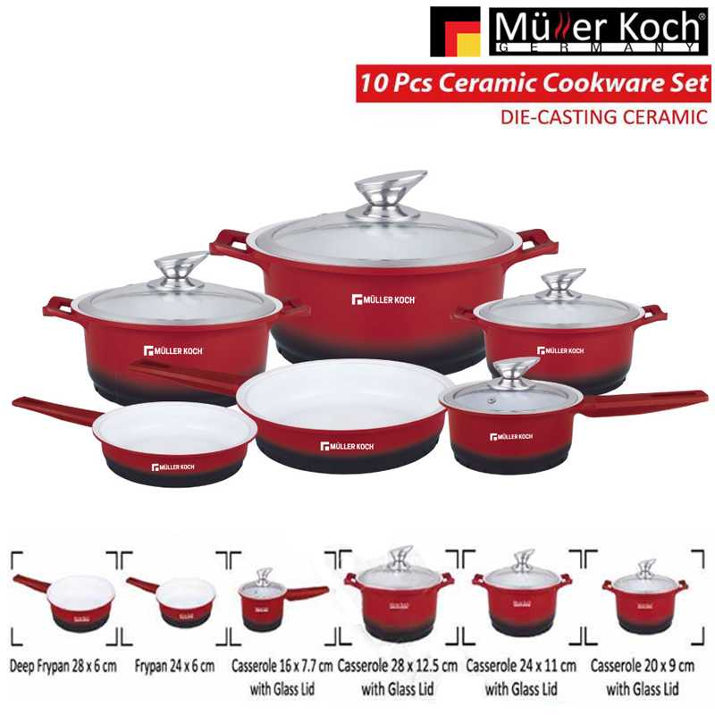 Muller Koch Die Casting Ceramic 10 PCS Cookware Set Red Color