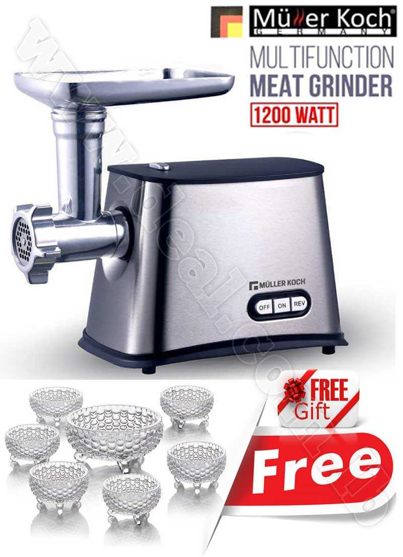 Free Gift Glass Bowls With Muller Koch Multi Function Meat Grinder 1200 WATT