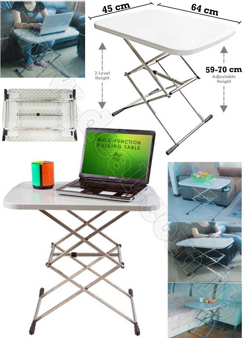 MultiFunction Folding Table Adjustable for Laptop Desk and Dining