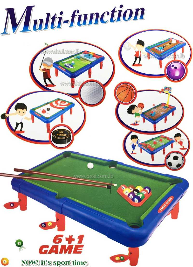 Multifunction 6 plus 1 game  combination  for 1 or 2 players
